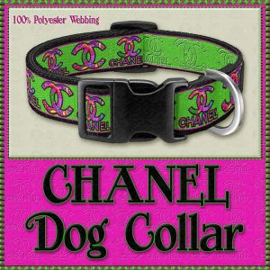 CHANEL Hot Pink Neon GreenDesigner Dog Collar Product Image No1