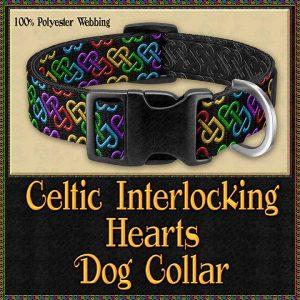 Celtic Interlocking Hearts Charcoal Designer Dog Collar Product Image No1